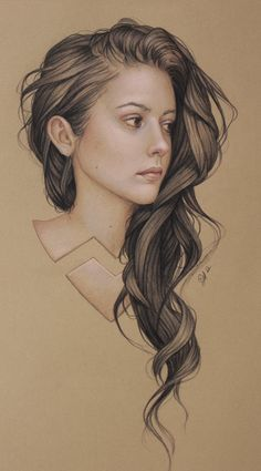 Illustration by: Jennifer Healy. Illustration of: Meg Myers Pencil Drawings, Art Drawings, Horse Drawings, Meg Myers, Color Pencil Art, Colored Pencil Portrait, How To Draw Hair, Portrait Art, Painting & Drawing