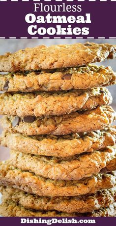 Flourless Oatmeal Cookies With Chocolate Chips are really simple to make, and a hit every time I serve them! They're soft and chewy, with little bites of sweet chocolate and crunchy walnuts, and flavored with honey, cinnamon, and nutmeg. Best of all, they're gluten free!