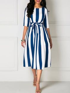 Indian Style Heavy crap Design Western wear party/casual Wear For Women Half Sleeve Dresses, Half Sleeves, Belted Dress, Striped Dress, Skater Dress, African Fashion Dresses, Fashion Outfits, Fashion Boots, Fashion Women
