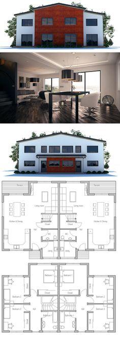 Duplex house plan duplex house plans pinterest for Plan maison duplex