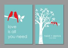 Personalized Custom Love Bird Wedding Family Tree - Birds on Branch - Love is All You Need - Set of 2 prints- 5x7s