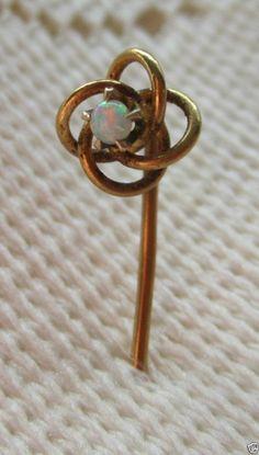 14K Gold Opal Love Knot Stick Pin Lapel Hat Art Deco Celtic Endless Knot Antique