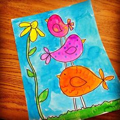 simple art Heres an idea for a cute spring drawing or painting. Three very simple birds that are stacked on each other, with the highest one looking at a pretty flower. As always, few crayon details added before painting adds some extra fun to the art. Classroom Art Projects, School Art Projects, Art Classroom, Projects For Kids, Art 2nd Grade, Grade 1, Second Grade, Arte Elemental, Spring Drawing