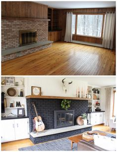 7 Enthusiastic Tricks: Living Room Remodel With Fireplace Fixer Upper living room remodel ideas farmhouse.Living Room Remodel With Fireplace Tvs livingroom remodel fixer upper.Living Room Remodel On A Budget House. Paint Fireplace, Living Room With Fireplace, Living Room Decor, Living Rooms, Black Fireplace, Living Area, Kitchen Living, Brick Fireplace Remodel, Living Spaces