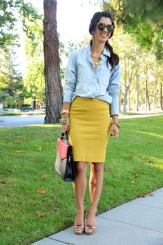 chambray shirt and a yellow pencil skirt by josefa