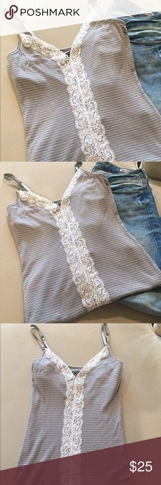 Guess Tank Top Gray and White Guess Tank top. Gray tank with white stripes and lace. Built in bra, size Medium. Guess Tops Tank Tops