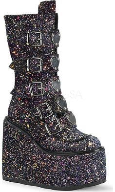 4f6528869135 Demonia Shoes - SWING-230G Black Multi Glitter Glitter Hearts