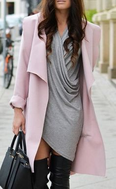 Love Pink + Grey! Solid Color Turn-Down Collar Trench Coat #Pink #Grey #Street #Style #Fashion #Black #Over_the_Knee #Boots