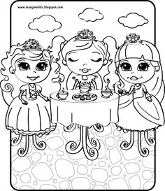 three little princesses at a tea party - Princess Tea Party Coloring Pages