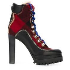 Dsquared2 tartan bootie (2.354.370 COP) ❤ liked on Polyvore featuring shoes, boots, ankle booties, black, ankle boots, black high heel booties, lace up boots, black boots and high heel booties