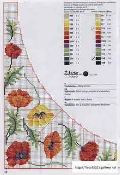 Cross-stitch Colorful Poppies Tablecloth pattern, part with the color chart. Cross Stitch Boards, Cute Cross Stitch, Beaded Cross Stitch, Cross Stitch Flowers, Cross Stitch Embroidery, Embroidery Patterns, Cross Stitch Patterns, Cross Stitching, Crafts To Make