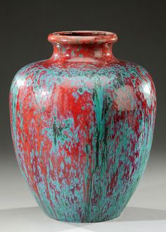 DALPAYRAT stoneware vase enamelled in «sang-de-boeuf» red and green. Signed «Dalpayrat», stamped with the artist's monogram and numbered. Circa 1900. H : 12 in  |  SOLD 5,000 EUR, Paris 2012