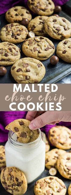 Malted Chocolate Chip Cookies – Deliciously thick, soft-baked cookies infused wi… Malted Chocolate Chip Cookies – Deliciously thick, soft-baked cookies infused with malted milk powder, and loaded with Maltesers and chocolate chips! Milk Chocolate Chip Cookies, Chocolate Malt, Milk Cookies, No Bake Cookies, Chocolate Chips, Yummy Cookies, Malted Milk Powder Recipe, Oatmeal Breakfast Bars Healthy, Malt Recipe
