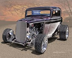 8 x 10 hot rod art print of a Lil Deuce Coupe, the ever popular 32 Ford 3 Window Coupe.    The 1932 Ford Coupe dates back to the very origins of hot