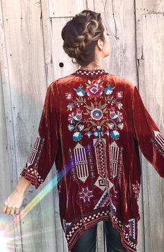 Velvet Embroidered Kimono | Johnny Was