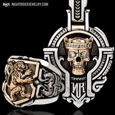 NightRider Jewelry: Two-toned gold and silver with diamonds Guardian ring and pendant  http://nightriderjewelry.com/store/jawbone-collection.html