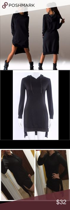 Winter hoodie dress Winter hoodie dress top sweater Description: Fashion design,100% Brand New THIN SWEATER,PERFECT FOR FALL  Material: Cotton Blend Style: Sexy, Fashion Size: tag inside said large I will say small/ medium, bust 94cm Sweaters