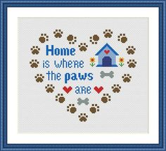 Home is where the paws are is a pattern, not the completed work. This pattern allows you the freedom to pick your own fabric and floss color.  On 14-count aida the designs measures 7.36*6.36 inches (103w X 89h). Sizes will change with count size.  Design used 8 DMC thread colors. This pattern is in PDF format and consists of a floss list, and a color symbol chart. If you have any questions about this pattern, please ask me. I will contact you with any further instructions when order is…