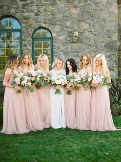 Bridal party in blush: http://www.stylemepretty.com/oregon-weddings/west-linn/2016/06/22/this-black-tie-wedding-is-filled-with-every-trend-youll-see-this-wedding-season/ | Photography: Linnea Paulina - http://linneapaulina.com/