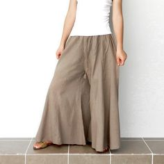 Harem Natural Tan Comfortable Wide Leg Pant  Lined , 100% Cotton Unique Patch Work Design.. $39.00, via Etsy.
