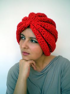 Oriental Turban Knit  Hat Super soft  Acrilyc Woman  by GiuliaKnit, $39.00