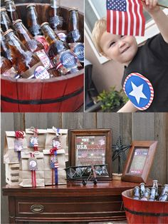 Vintage Americana 4th July Party BBQ +  NEW Printable Designs! by Bird's Party #4thJuly #independenceDay #USA #party #partyideas #printables #partyprintables #decorations #bar #drinksstation
