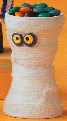 Clay pot mummy halloween craft