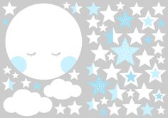 Wandtattoos - Wandtattoo Mond und Sterne hellblau - ein Designerstück von n-art bei DaWanda