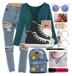 """""""Style back on time"""" by malrocks2003 on Polyvore featuring Afends, Converse, MAC Cosmetics, Givenchy, Topshop, Davines, Maybelline and Violeta by Mango"""