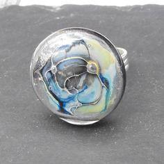 Bag.0987 bague réglable en verre de murano