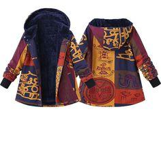3228bb0e84e1 Trendy Gracila Ethnic Print Hooded Fleece Thick Coats For Women Online -  NewChic Mobile