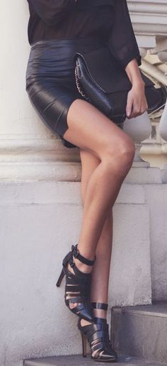 Spring / summer - Fall / winter - black chiffon shirt + black leather mini skirt + cut heeled booties