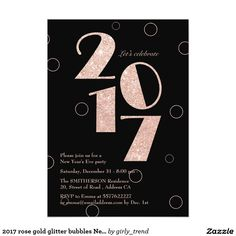2017 rose gold glitter bubbles New Years Eve Party Card  #zazzle