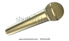 Golden microphone, isolated on white background. 3D illustration