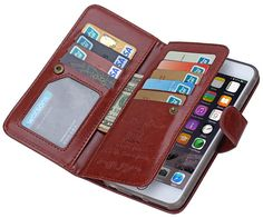 BRG iPhone 6S Plus/6 Plus Case 9 Card Slot 2 in 1 Detachable Magnetic Wallet Case Cover