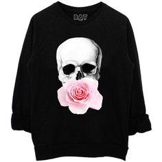 Hallow Rose Sweatshirt Black* (41 CAD) ❤ liked on Polyvore featuring tops, hoodies, sweatshirts, shirts, sweaters, flower print shirt, black shirt, floral skull shirt, floral shirt and skull shirt