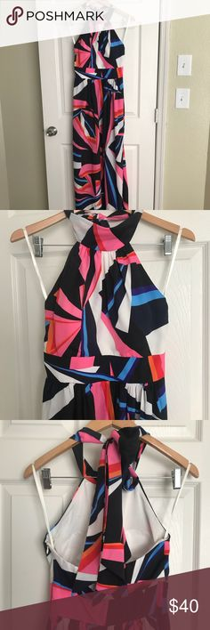 Full length Party Dress This INC full length dress is so colorful & fun! The bright geometric pattern on this silky flowing dress is so eye-catching & bold. The neck tie back now is a beautiful detail that would look great with an updo. A cinched waist & built-in bra cups make this super comfortable. INC International Concepts Dresses Maxi