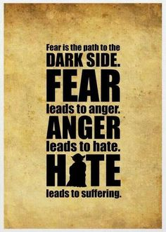 Star Wars | Fear is the path to the dark side. Fear leads to anger. Anger leads to Hate. Hate leads to sufferings.
