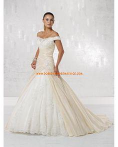 Robe de mariée avec bretelles hors d'épaule taffetas dentelle