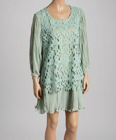 Aqua Floral Layered Linen-Blend Dress by Pretty Angel #zulily #zulilyfinds