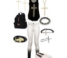 White ombre pants, cross jewelry, and cross shirt
