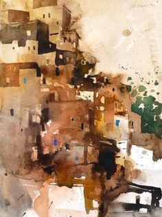 Oumesnat, Marokko, 2012 Abstract Landscape Painting, Watercolor Art, Watercolor City, Abstract Painting, Painting, Watercolor Architecture, Watercolor Landscape, Landscape Art, Building Art
