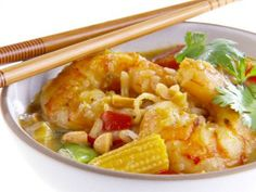 Thai Curry (with Shrimp) from Giada DeLaurentiis, 5 of 5 Stars, 2 Reviews. Note: Uses coconut milk (2 cans), yellow curry paste, Thai or serrano chile, Thai basil, Thai lime leaves, fish sauce, thin rice noodles, cilantro and peanuts.