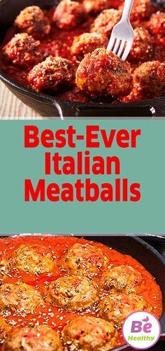 Best-Ever Italian Meatballs - Best-Ever Italian Meatballs meatball - Best Meatballs, How To Cook Meatballs, Crock Pot Meatballs, Cooking Meatballs In Sauce, Italian Spaghetti Sauce, Spaghetti And Meatballs, Spaghetti Recipes, Pasta Spaghetti, Best Italian Meatball Recipe