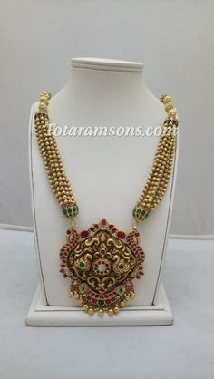 Gold Temple Jewellery, Gold Wedding Jewelry, Gold Jewellery Design, Bridal Jewelry, Gold Jewelry, Beaded Jewelry, Gold Necklace, Latest Jewellery, Trendy Jewelry
