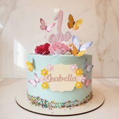 Little Girl Birthday Cakes, 15th Birthday Cakes, 2nd Birthday Party For Girl, Bithday Cake, 1st Birthday Princess, Butterfly Birthday Party, Girl Birthday Decorations, Floral Cake, Beautiful Wedding Cakes