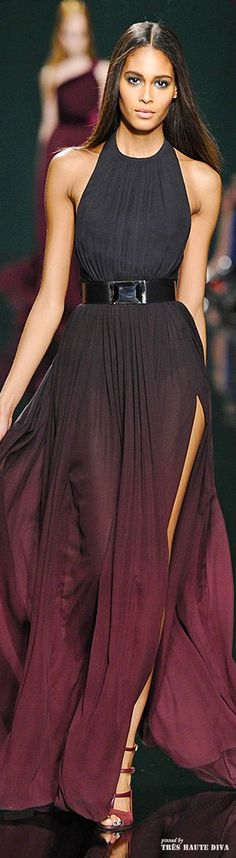 Paris Fashion Week - Elie Saab FW14 RTW. Such a beautiful dress with rich and luxurious colors.