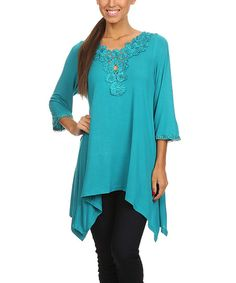 Teal Embroidered Sidetail Top - Women & Plus | zulily   Pretty  $  19.99