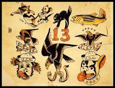Sailor Jerry Tattoo Flash, Vintage Tattoo Design, Tattoo Museum, City Tattoo, Vintage Flash, Traditional Tattoo Flash, Tattoo Portfolio, Tattoo Designs, Flash Tattoos