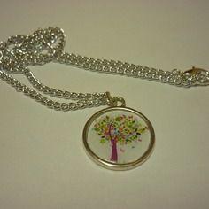 Collier chaîne et pendentif cabochon en résine avec un arbre multicolore DIY